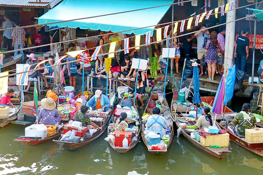 AMICI MIEI PHUKET TRAVEL AGENCY PRIVATE TOUR @ TRAIN AND FLOATING MARKET, RIVER KWAI BRIDGE & ELEPHANT BATHS (AM142)