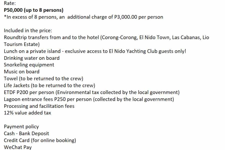 "Philippine Island Cruise Corp Private ""Seacret"" Catamaran Charter"