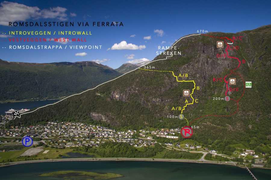 Norsk Tindesenter Guidet tur: Romsdalsstigen i solnedgang - Vestveggen (5-6 timer)