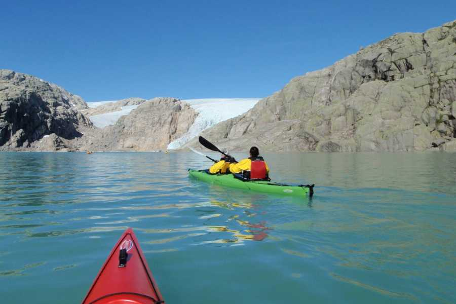 Norway Insight Fjord, Kayak and blue ice