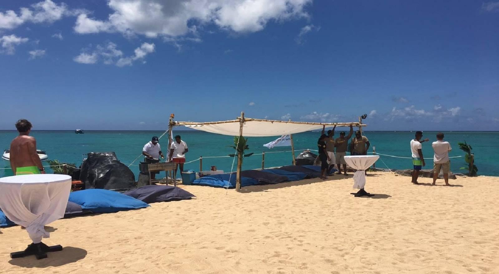 Suntanning at floating Z'ile Beach