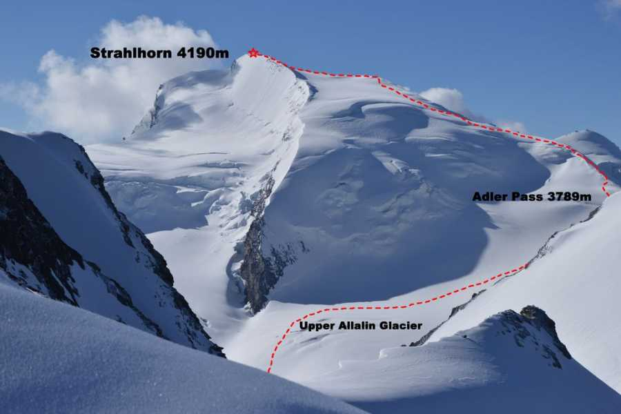 Saas-Fee Guides Skitour Strahlhorn 4190m from Britannia Hut