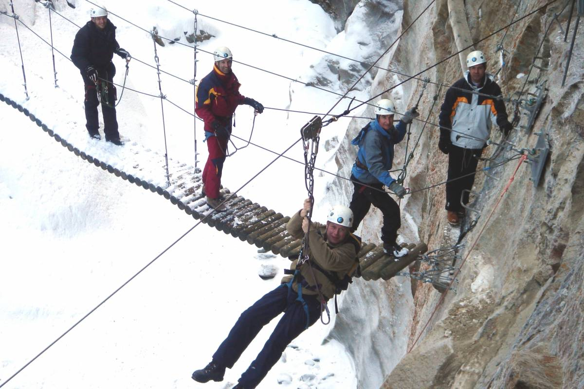 Saas-Fee Guides Gorge Alpine via Ferrata - Winter