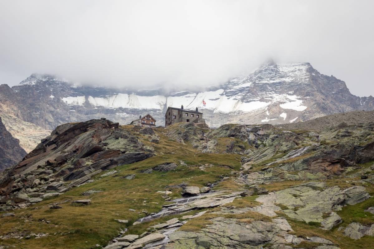 Saas-Fee Guides Fletschhorn 3996m from Weissmies Hut