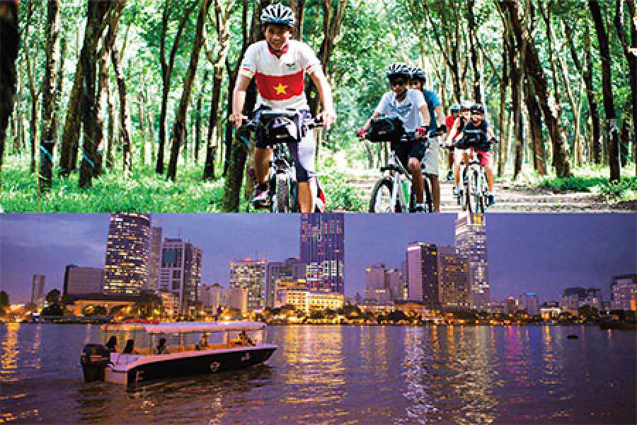Les Rives Authentic River Experience Cu Chi Tunnels by boat-bicycle and Sunset Cruise package