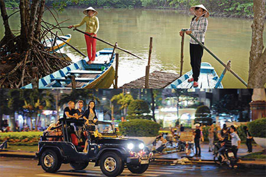 Les Rives Authentic River Experience Can Gio Forest tour and Jeep City and Sunset Cruise Package