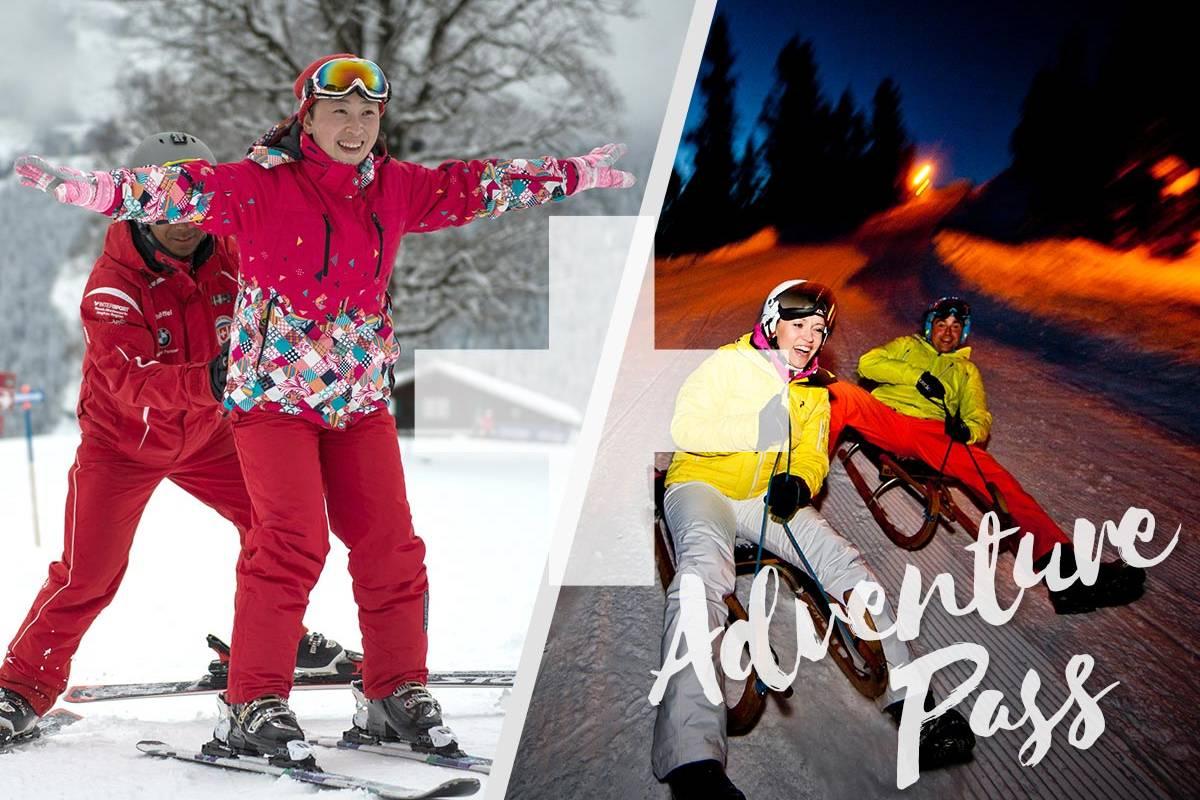 Outdoor Interlaken AG Adventure Pass: 1/2 Day Beginner Ski Package + Night Sledding