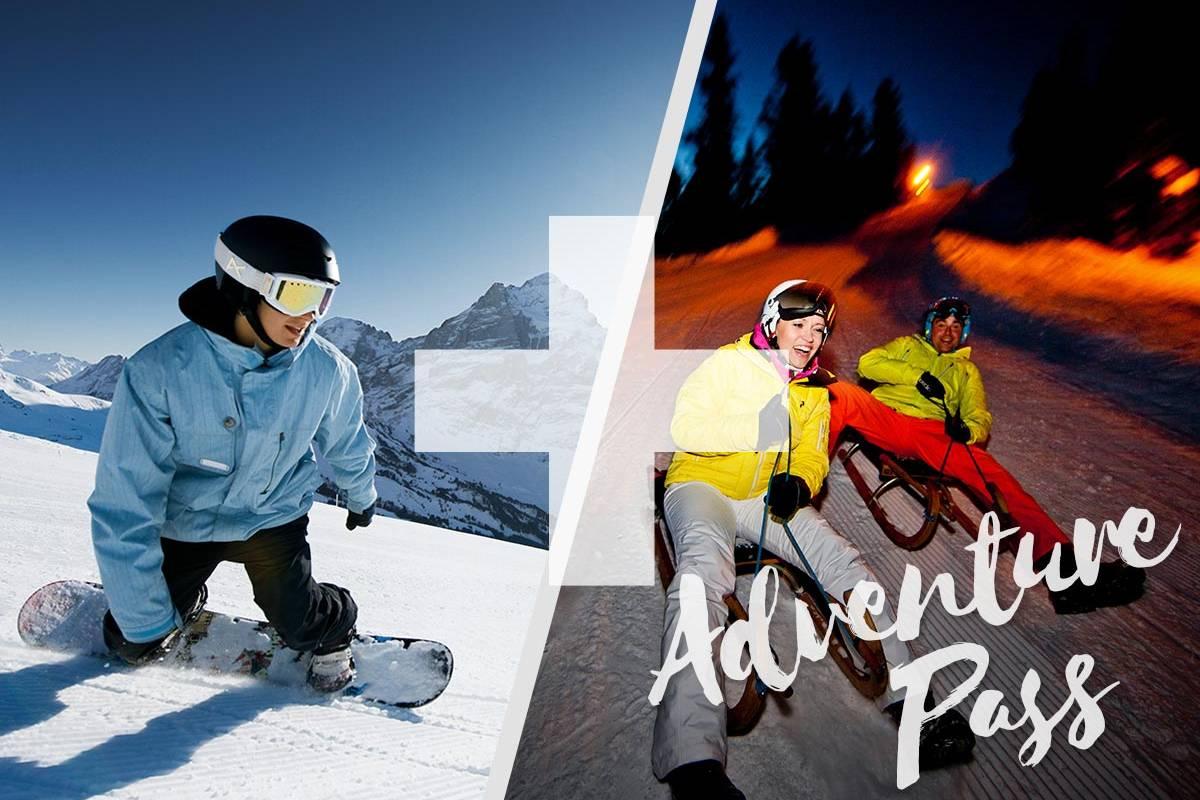 Outdoor Interlaken AG Adventure Pass: 1/2 Day Beginner Snowboard Package + Night Sledding