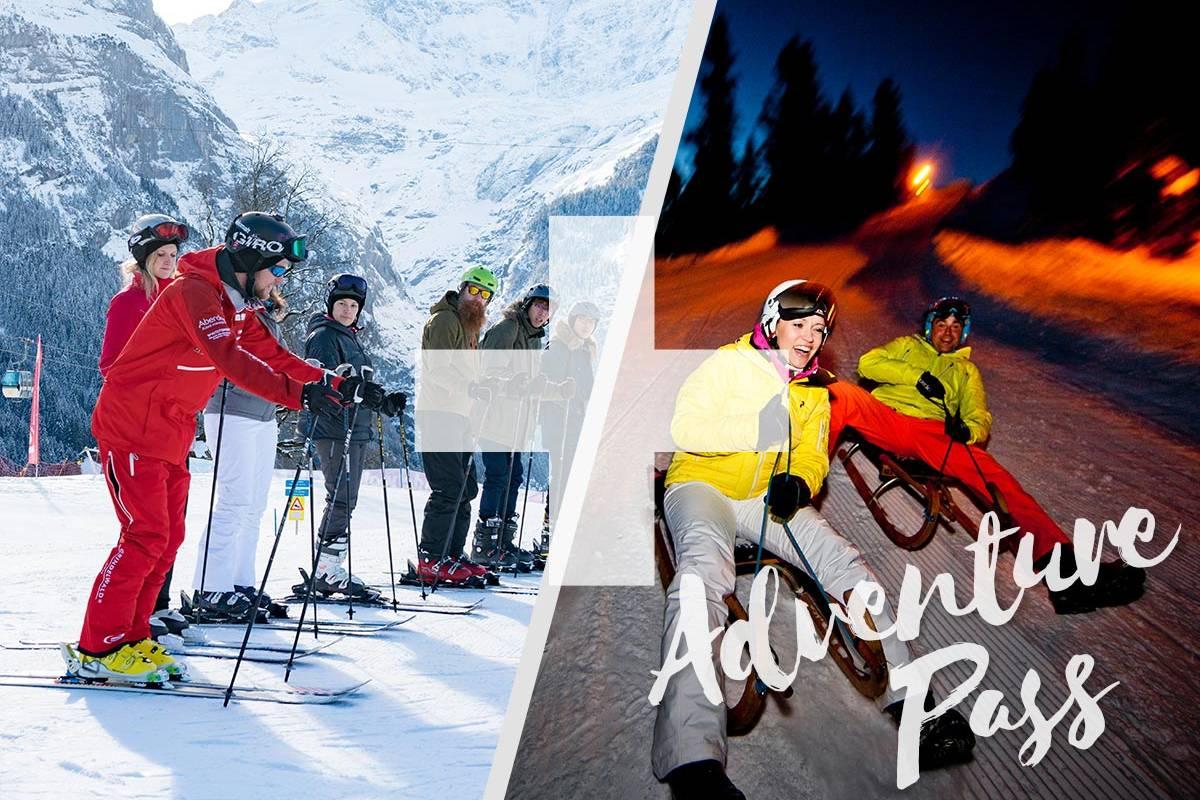 Outdoor Interlaken AG Adventure Pass: 1 Day Beginner Ski Package + Night Sledding