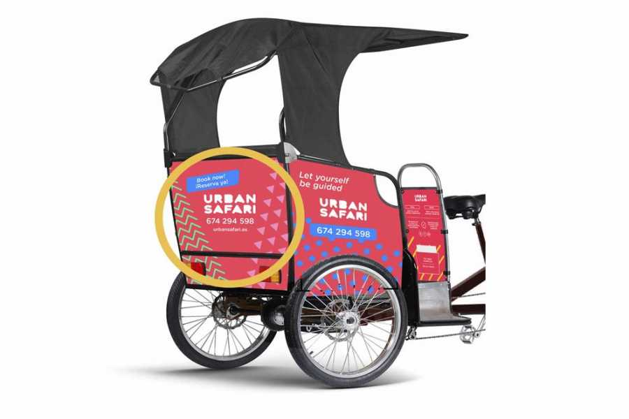 Urban Safari Tours Bici-taxi: Alquiler publicidad trasera