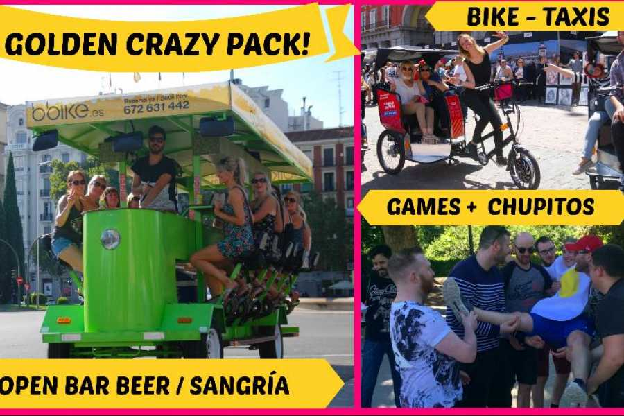 Urban Safari Tours CRAZY PACK GOLDEN: Beer Bike + Barra libre de cerveza o sangría + Desfile Bici- Taxis+ Gymcana + chupitos