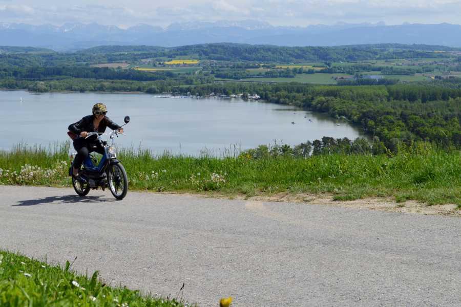 """Murten Tourismus / Morat Tourisme """"Töffli-Buebe-Feeling"""" Murtensee - Tour Sugiez mit Weindegustation im Vully - buchbar ab 6 Personen"""