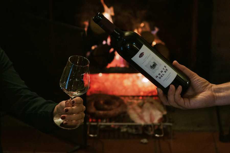 Enoteca Emilia Romagna Wine tasting in front of the fireplace at Cantina da Vittorio