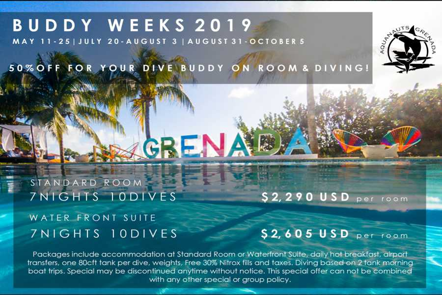 Aquanauts Grenada Dive Buddy Week: Hotel + Dive Package