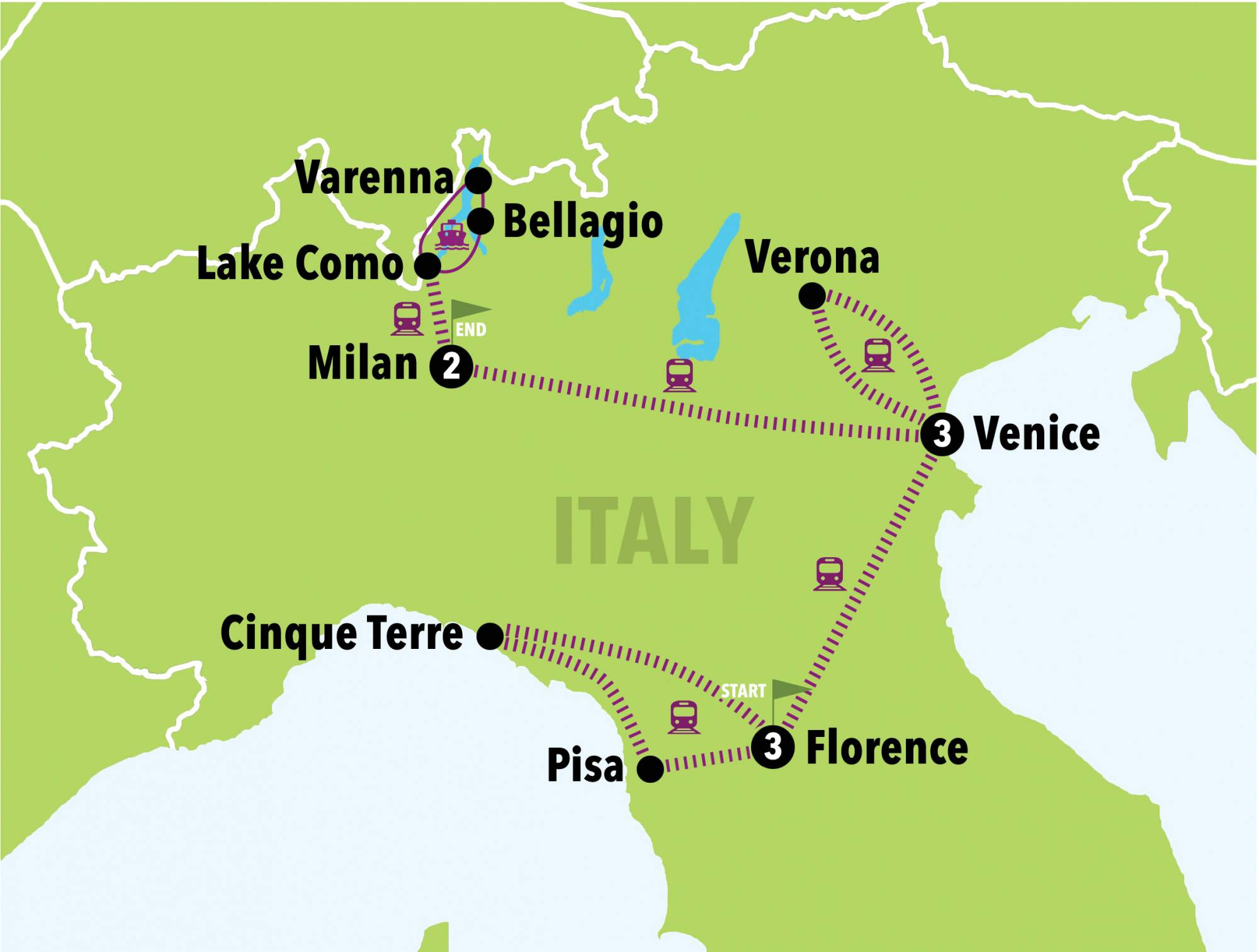 Map Of Italy Showing Florence.Let S Go North 9 Days 8 Nights Italy On A Budget Tours Italy
