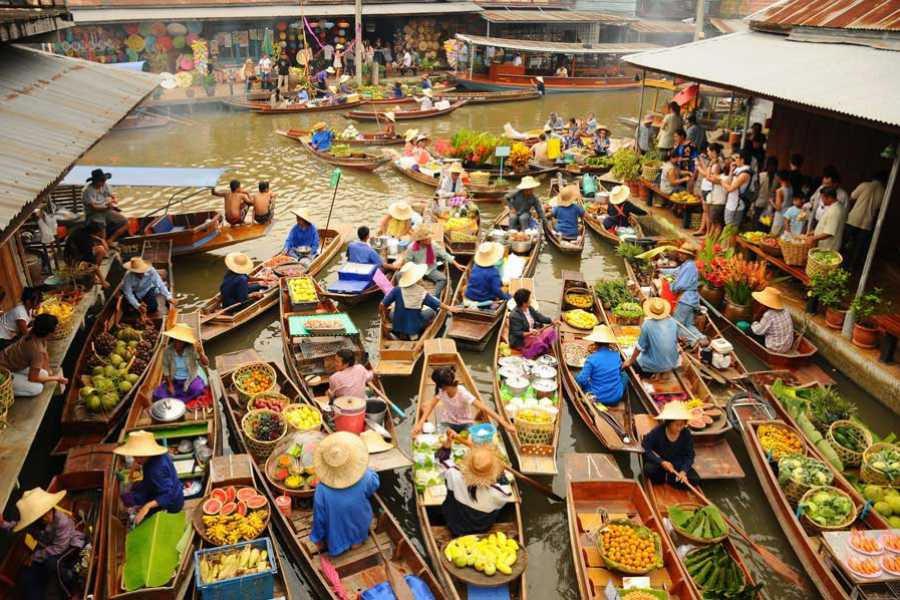 AMICI MIEI PHUKET TRAVEL AGENCY 2 DAYS KANCHANABURI: FLOATING MARKET, ERAWAN WATERFALL AND ELEPHANT BATHING AM084