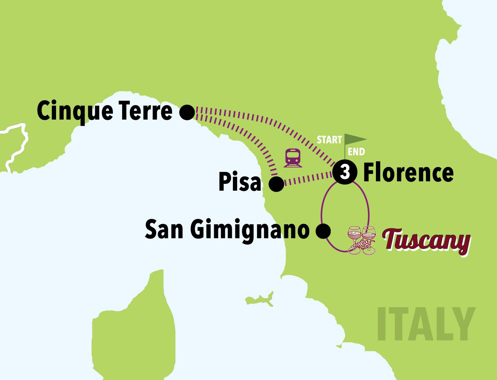 Map Of Italy Showing Tuscany.The Best Of Tuscany 4days 3nights Italy On A Budget Tours