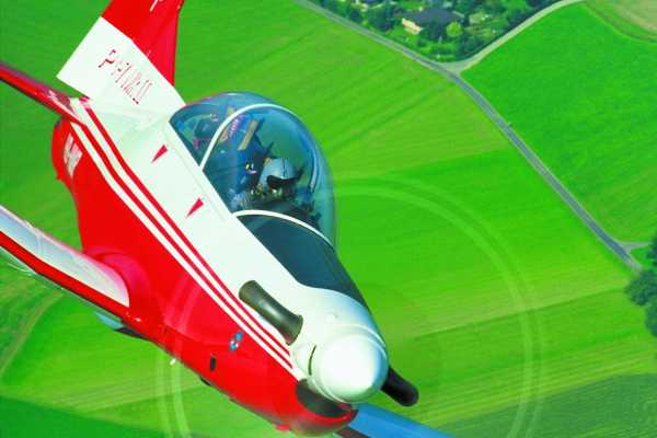 Adventure flight with Airforce Trainer PC 7 aircraft