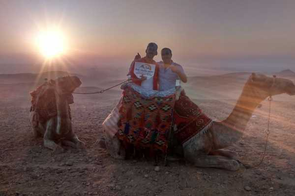 EMO TOURS EGYPT Camel ride trip at Giza Pyramids During Sunrise or Sunset