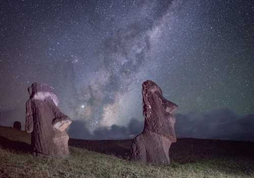 The Milky Way illumines the sky above Moai in Rano Raraku