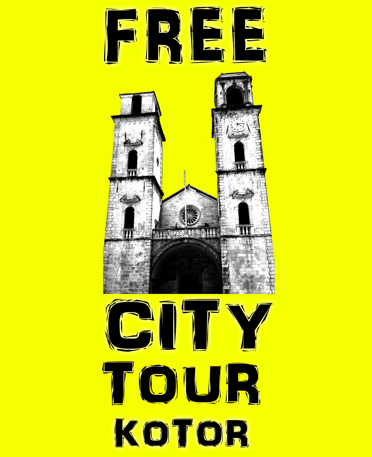 kotor free city tour starting point in front of reception of