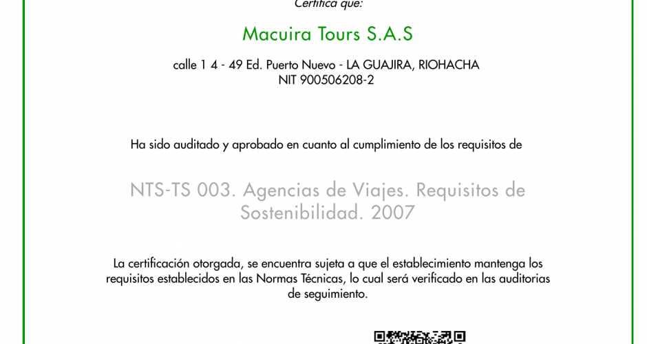 Estamos Certificado en la Norma NTS TS 003, Calidad Turística.
