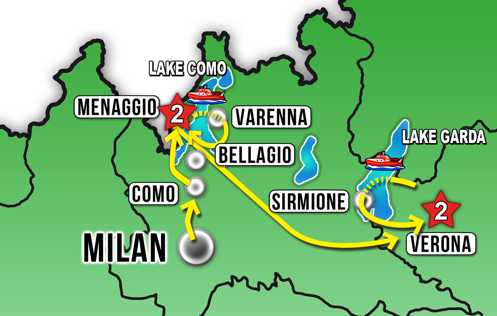 THE ITALIAN LAKES ADVENTURE 5D4N Lake Como Lake Garda and Verona